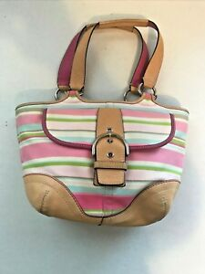 Coach Purse Striped Pastel Pink Easy Care Fabric w/ Tan Leather Trim #L043-1889
