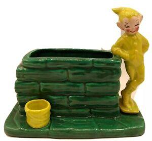 Vintage TREASURE CRAFT Pixie Elf Ceramic Wishing Well Sprite Planter Vase