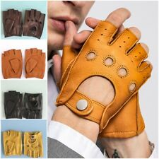 Goatskin Half Finger Genuine Leather Gloves Fingerless Gym Fitness Men Gloves