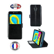 Etui Rabattable Simili Cuir Noir avec Ouverture Ecran pour Alcatel U5