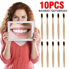 10 Pcs  Bamboo Toothbrush 100% Natural Organic Medium Soft Bristle Eco-friendly