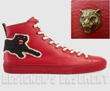 GUCCI 9G red leather PANTHER Angry Cat MAJOR high top Sneakers NIB Authentc $730