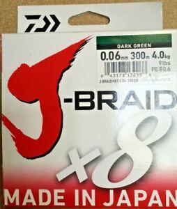 Daiwa J-Braid x8 Strands - Dark Green - 300m Spool - 0.06mm - 9lb/4.0kg.