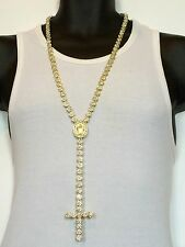 MENS ICEDOUT 14K YELLOW GOLD FINISH CUBICZIRCONIA FLOWER CLUSTER ROSARY NECKLACE