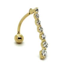 14K Yellow Gold Reverse Curving Belly Ring with 2-4mm Round CZ