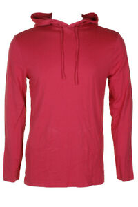Club Room Tomato Red Jersey Long Sleeve Hooded Shirt  L
