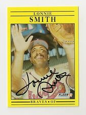 1991 FLEER LONNIE SMITH AUTO AUTOGRAPH CARD #702 SIGNED IN PERSON BRAVES