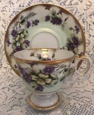Royal Sealy China, Footed Tea Cup & Saucer w/ Violets on Green Background, Japan