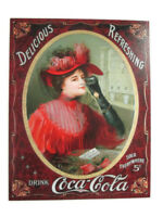 "Coca-Cola Retro Tin Sign 16"" x 12.5"" Delicious and Refreshing - BRAND NEW"