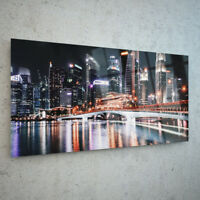 ANY SIZE Wall Art Glass Photo Print Canvas Picture City Lights Water p115070