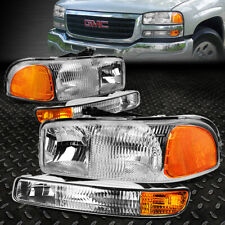 FOR 1999-2007 GMC SIERRA/YUKON OE STYLE CHROME AMBER HEADLIGHT UPPER+LOWER LAMP