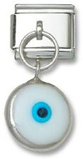 Italian Charm Dangle White Glass Lucky Evil Eye 9 mm Stainless Steel Link Silver