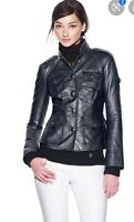 NWOT Tory Burch Butter Soft Black leather jacket Black Logo Buttons size 2 $989