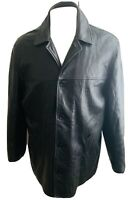VINTAGE MENS LEATHER JACKET COAT XL BLACK