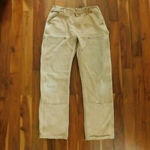 Carhartt 32x32 B01 Brn Duck Dungarees Double Front Heavy Canvas Work Pants USA