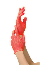 RED FISHNET SHORT WRIST GLOVES SEXY DISCO FANCY DRESS - LEG AVENUE