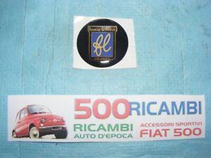 FIAT 500 D/F/L/R STEMMA ADESIVO RESINATO LOGO FRANCIS LOMBARDI PULSANTE CLACSON