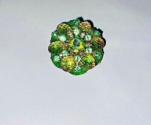 Vintage Molded Glass Rhinestone Brooch  Judy Lee Signed Green HTF