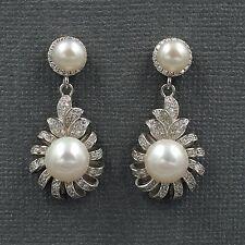 White Pearl Freshwater CZ 925 Sterling Silver Drop Dangle Earrings 08246 New
