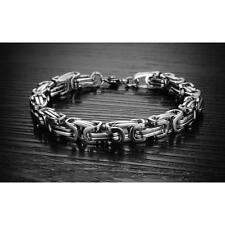 Stylish Heavy Silver Tone Stainless Steel Curb Chain Men's Bracelet Bangle Gift
