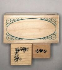 Lot o 3 Rubber On Wood Stamps Crafting Scrapbook Rubber Stampede PSX StamPendous