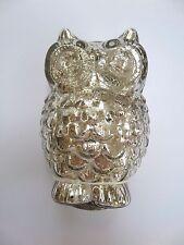 Glas-Eule 11cm (silber, bauernsilber, Ostern, antik-Optik , Tischdeko, Osterdeko