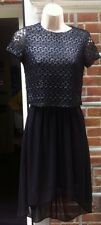 RIVER ISLAND BLACK CHIFFON & SHIMMERY LACE OUTER KNEE LENGTH DRESS - SIZE 6