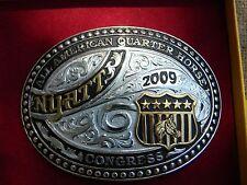 GIST BRONZE Rodeo Trophy Belt Buckle 2009 ALL AMERICAN QUARTER HORSE  CONGRESS