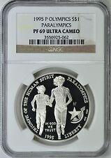 1995-P OLYMPICS PARALYMPICS BLIND RUNNER SILVER $1 NGC PF69 ULTRA CAMEO