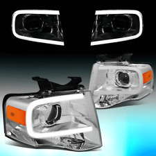 FOR 2007-2014 FORD EXPEDITION 3D LED DRL PROJECTOR HEADLIGHT LAMPS CHROME/AMBER