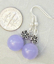 "Lavender Purple Jade Flower Pierced Earrings 1.5"" Oceana Jewellery"