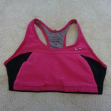 Nike Dri Fit Bra Shirt Women Large Pink Black Gym Athletic Cotton Running Ladies