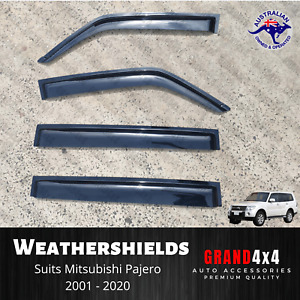 Weathershields Window Visors to suit Mitsubishi Pajero 2001 - 2020 Tinted Black