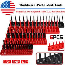 6pcs Socket Organizer Tray Rack Storage Holder Tool Metric SAE 1/4