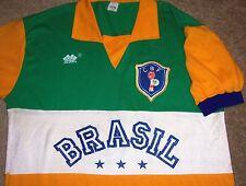 VTG 80's CBF BRASIL BRAZIL #10 DIAS SPORTS SOCCER FOOTBALL JERSEY SHIRT L RARE!