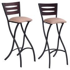 Set Of 2 Folding Counter Bar Stools Bistro Dining Kitchen Pub Chair Furniture