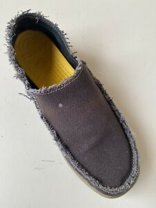 CROCS Santa Cruz Men's Shoes Sz 11 Brown Canvas Slip On Shoe Fringe Trim Comfort