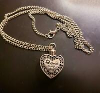Dog Cat Pet Memorial Heart Cremation Keepsake Necklace Ashes Urn Pendant Jewelry