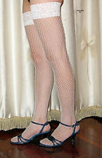 Bridal White Thigh High Fishnet Lace Top Stockings   LC7905 -4