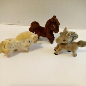 Lot Of 3  Vintage Flocked Horses Mini Dollhouse Animals READ DESCRIPTION