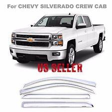Chrome Window Vent Visors Rain Chevy Silverado Crew Cab 99-06 NEW