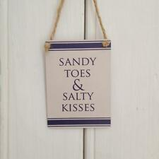 Sandy Toes & Salty Kisses  MINI METAL NAUTICAL White Blue  SIGN New