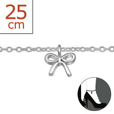 925 Sterling Silver Bow Charm Anklet / Ankle Bracelet 25cm Uk Seller Ribbon