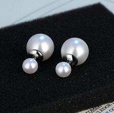 925 Sterling Silver Earrings Double Pearls Ear Stud Princess Fashion Jewelry