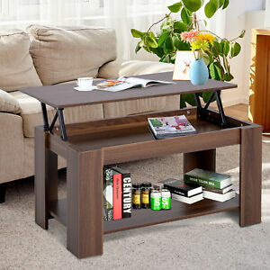 100cm Modern Lift Up Top Coffee Table Desk Hidden Storage Bottom Shelf Living