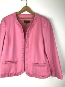 Talbots Knit Jacket 14 Pink Open Front NEW Career to Party Blazer Wool Blend bh
