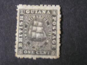 *BRITISH GUIANA, SCOTT # 33A, 1c. VALUE BLACK ON MEDIUM PAPER 1864 ISSUE USED