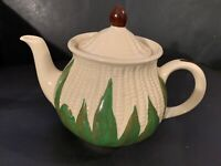 Rare VTG Shawnee Pottery USA WHITE Corn King Teapot & Lid NICE