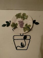 MAJOLICA Grape Embossed Plate with Green Metal Leaf Plate Holder