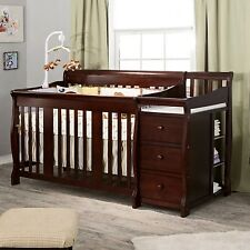 Convertible Baby Crib 4 In 1 Toddler Nursery Furniture Bedding Set With Changer